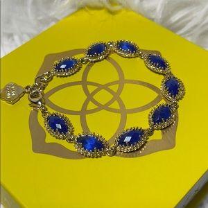 Kendra Scott Jana Bracelet cobalt blue gold euc